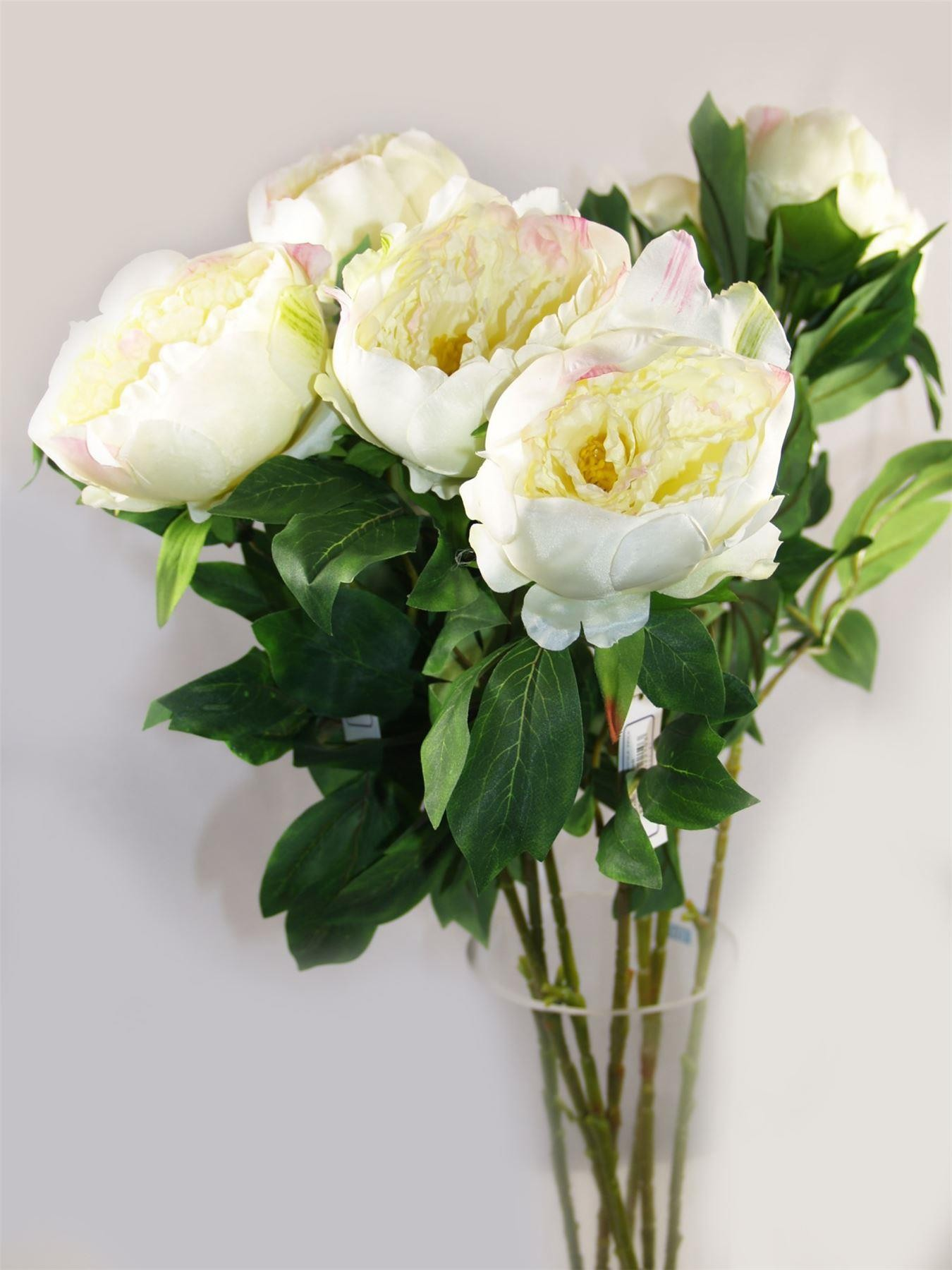 3 Single Peony Stems Artificial Silk Flowers White With Pink 4065
