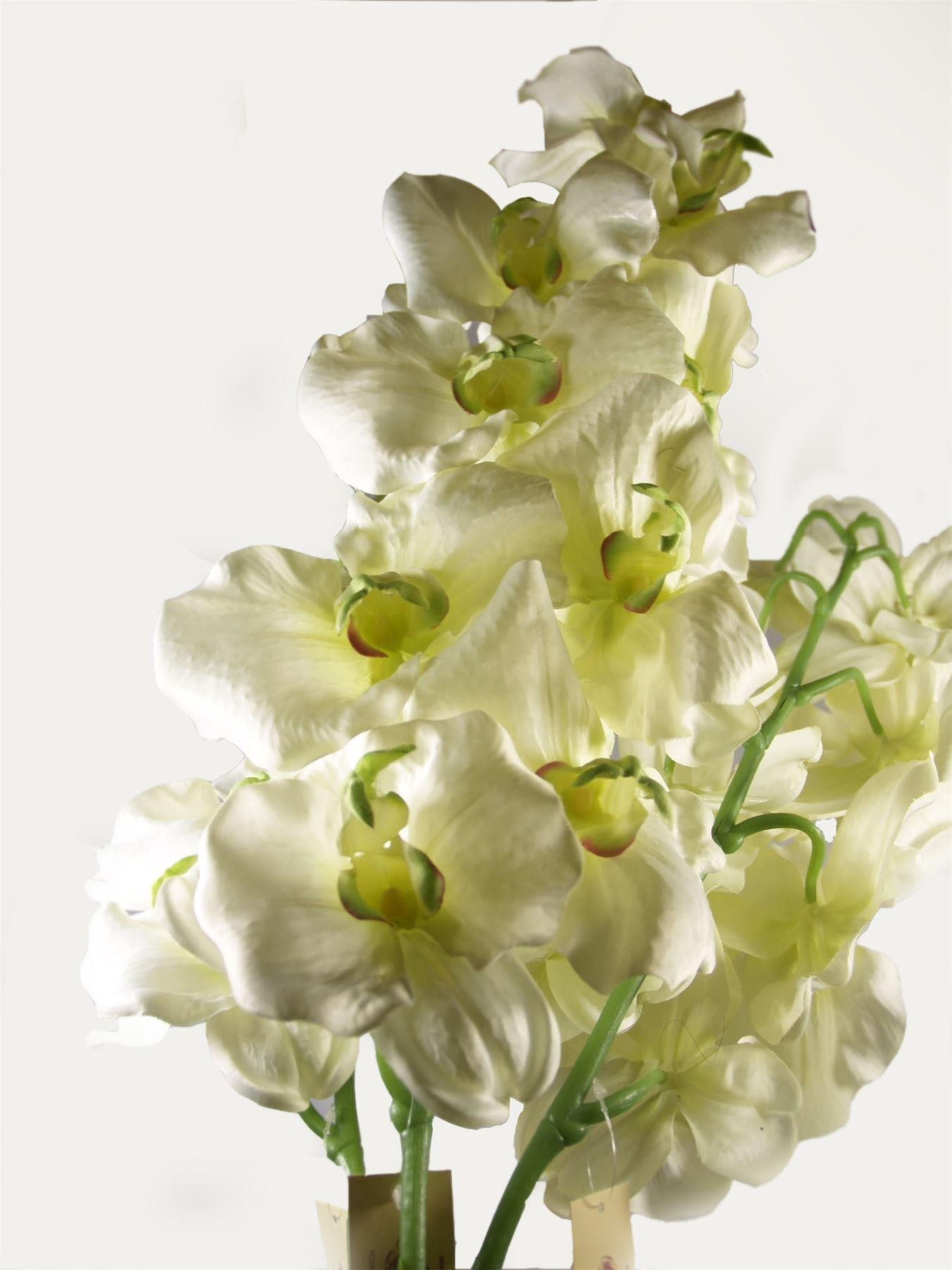 3 Single Orchid Stems Large Artificial Silk Flowers White 4055 For