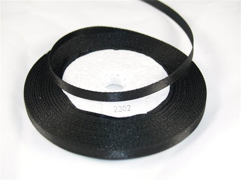 7mm x 22m Satin Ribbon x5 Reels Black (2302)