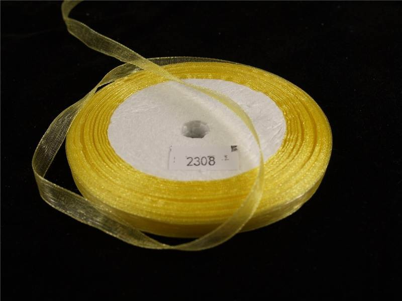 7mm x 22m Organza Ribbon x5 Reels Yellow (2308)