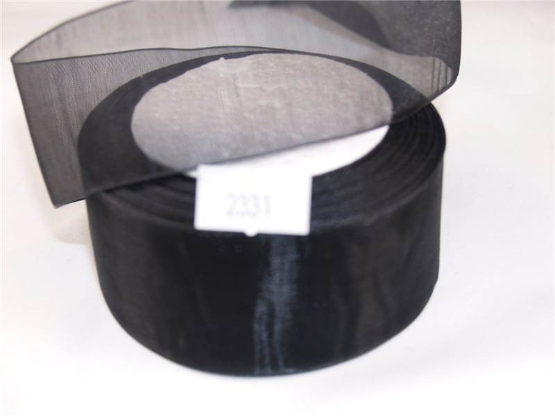 38mm x 22m Organza Ribbon x2 Reels Black (2331)