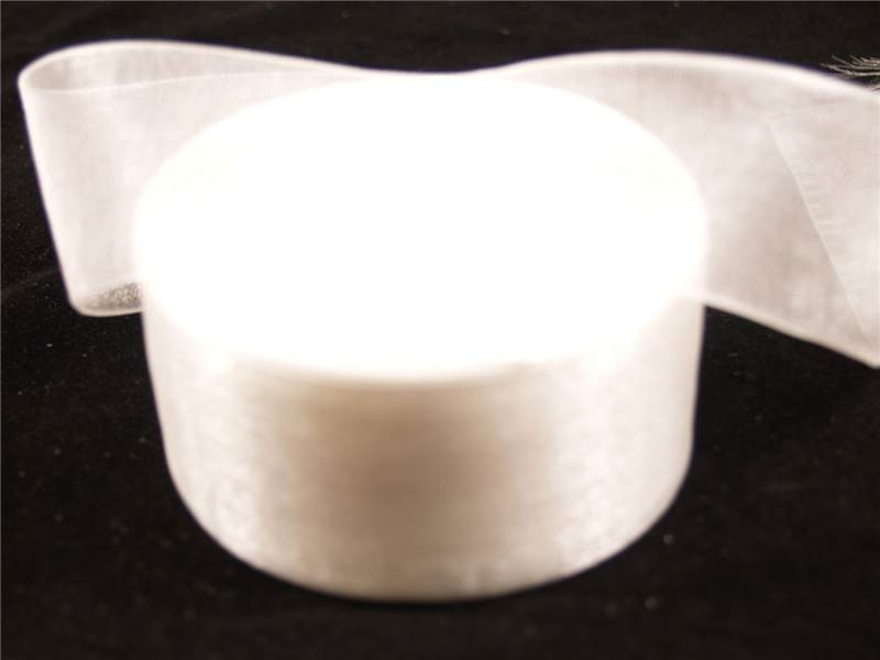 38mm x 22m Organza Ribbon x2 Reels White (2332)
