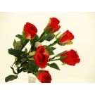 12 Single Rose Stems Artificial Silk Flowers Red (4325)