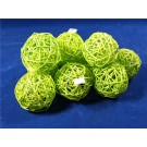10 Rattan Bunch Ball 8cm Bleached Apple Green (3108)