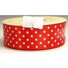 25mm x 20m Dotty Satin Ribbon Red (4104)