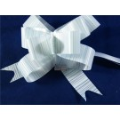 25 Poly Pull Bows Baby Blue-White-Silver Stripes 3cm (3334)