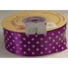 25mm x 20m Dotty Satin Ribbon Purple (4108)