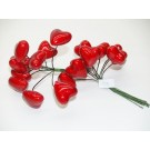 144 Decorative Foam Lacquered Hearts On Wire Valentine Day Red (1674-144)