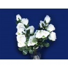 12 Blooms 3 Stems Rose Artificial Silk Flowers White (3737)