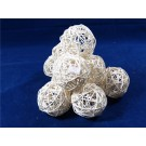 10 Rattan Bunch Ball 8cm Bleached White (3106)