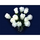 12 Roses Artificial Silk Flowers White (3738)