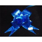 10 Glitteted Poly Pull Bow 3cm Blue (2357)