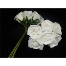 12 'Nadia' Tiered Petal Roses White With Pearl (2648)